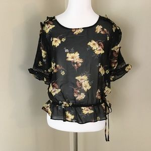 Free Press Clothing Medium Floral Top Black